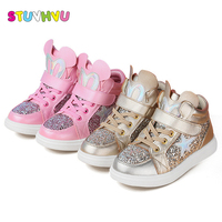 Girls Sport Shoes Spring Autumn 2017 Children Shoes Kids Casual Sneakers Leather Sequins Soft bottom Comfort Sneakers For Girls