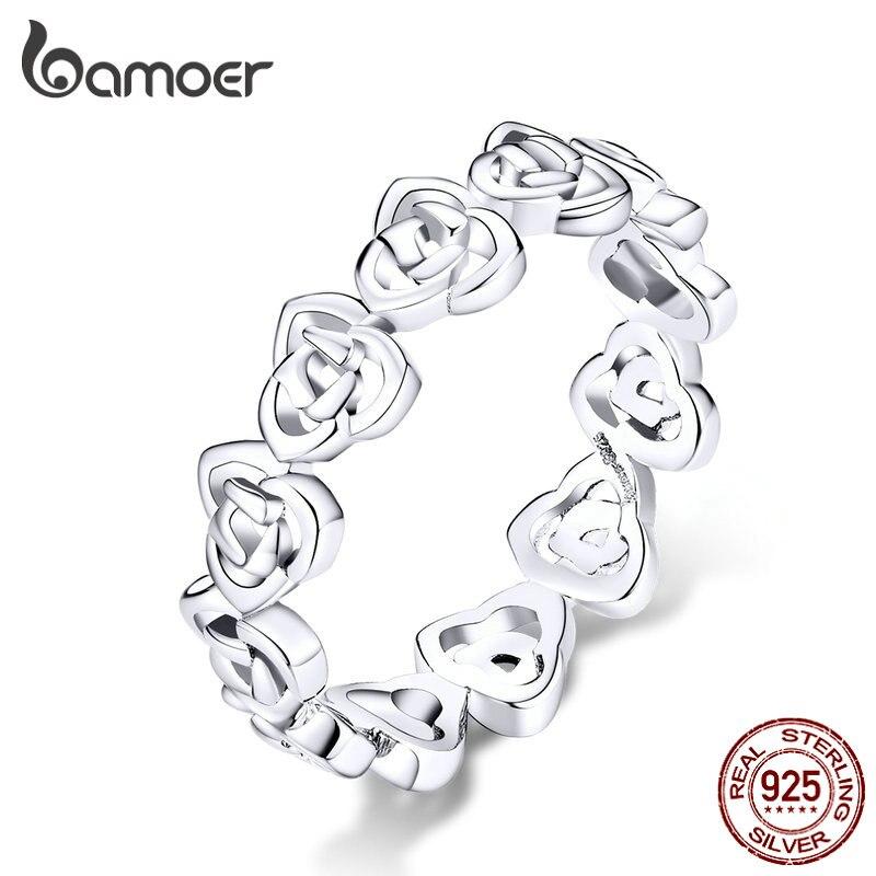 bamoer Vintage Pattern Rose Finger Rings for Women Band Genuine 925 Sterling Silver Stackable