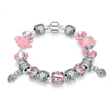 Silver Plated Crystal Charm Bracelet for Women With Glass Beads Bracelets & Bangles DIY Beads Jewelry Bracelet Femme