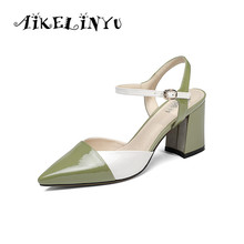 AIKELINYU Summer Woman Brand Sandal Fashion Cusp End Party Genuine Leather High Heels Sandals Lady Mixed Color Young Girls Shoes