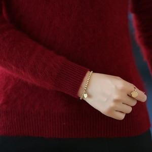 Image 5 - MERRILAMB الشتاء المرأة عالية الجودة المنك سترة الكشمير المعنقة سميكة الدافئة محبوك س الرقبة كاملة الأكمام البلوفرات الصلبة عادية البلوز