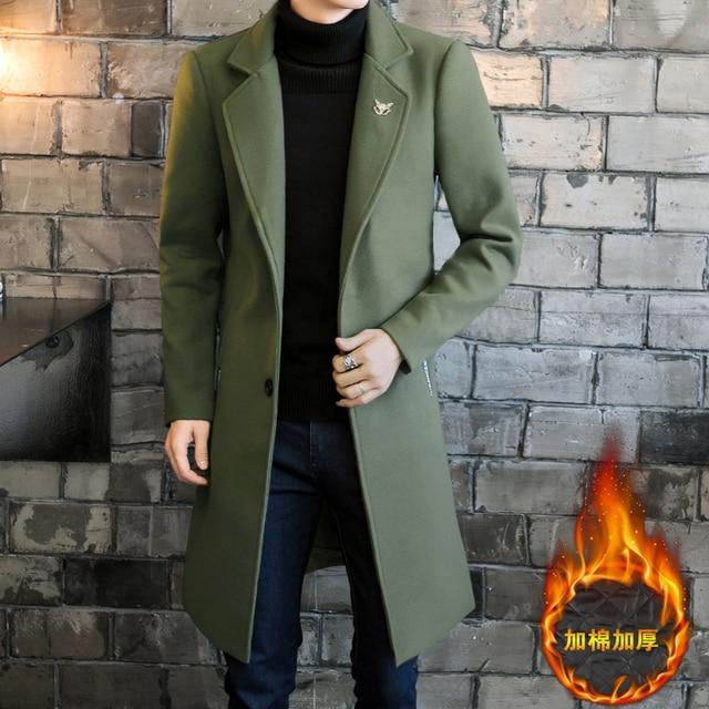 2017 Длинные куртки и пальто Однобортный Повседневное Мужские полушерстяные куртки Полный зимой для мужчин шерстяное пальто 3XL 4XL