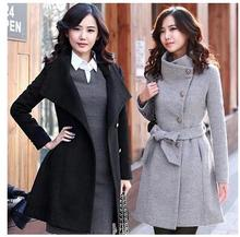 2017 Europe and the United States fashion new winter double-breasted long-sleeved thickening in the long section of woolen jacke