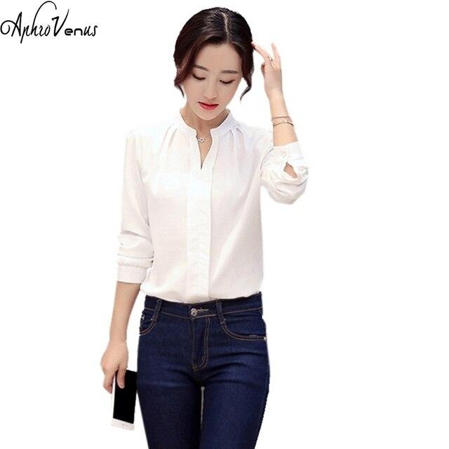 5ca04d490bed € 7.8 |2018 mujeres blanco Blusa de gasa camisa de manga larga señoras  verde rosa blanco blusas atractivas elegantes del v cuello Oficina femenina  más ...