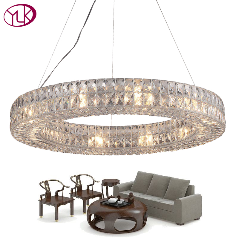 Youlaike Round Modern Crystal Chandelier Living Dining Room LED Hanging Lighting Fixtures Polished Chrome Cristal Lustres baile penis sleeve реалистичная насадка на пенис
