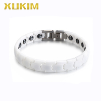 XMB105 Xukim Jewelry Health Magnet Bracelets Black white Color Men ceramic charm Bracelet new hot fasion chain stainless steel