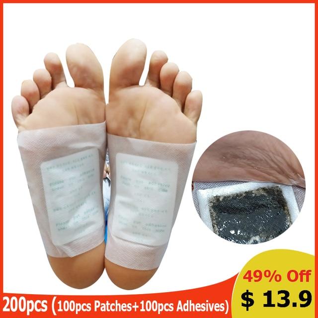 200 шт/партия травяные очищающие Пластыри для ног Kinoki Детокс пластырь для ног телесные токсины для похудения ног Уход за ногами (100 шт патчи + 100 шт клеи)