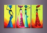 Hoge Kwaliteit 3 stks Afrikaanse Nationale Cultuur Olieverfschilderij Thuis Muur Decoratie Moderne Voor Woonkamer Foto koop