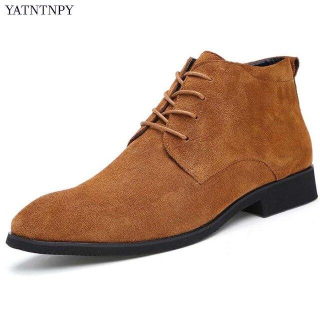 f3d674dff YATNTNPY Moda Homens Botas Estilo Britânico Martin botas botas de Couro  Genuíno Camurça Homem Oxfords Casual