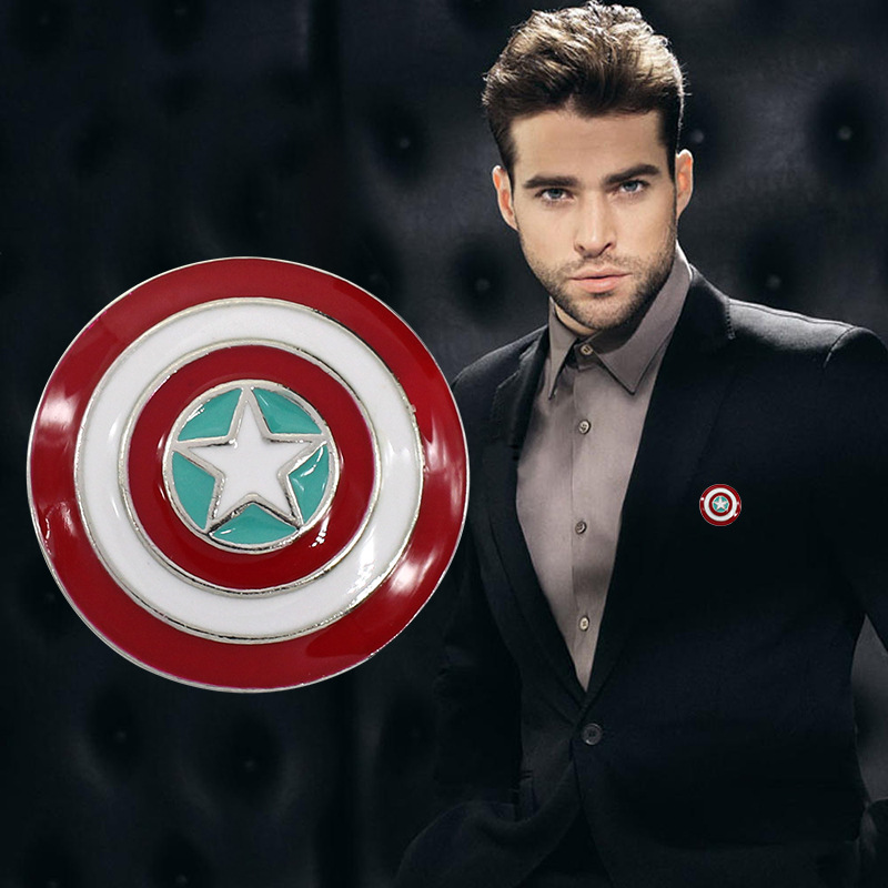 Hot Sale Marvel Captain America Brooch Superhero Vintage Shield Brooch Pin Jewelry For Men And Women Wholesale Drop Shipping
