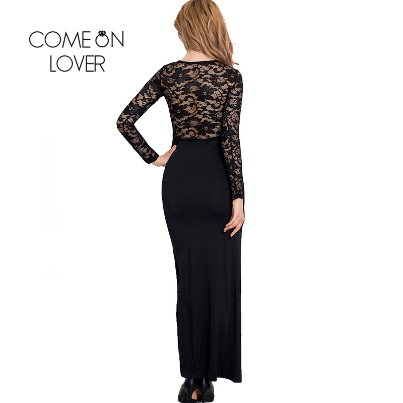 RI70196 Wholesale and retail popular black lace dress long sleeve see  through elegant dress super deal women maxi dresses long-in Dresses from  Women s ... ca3df101e233