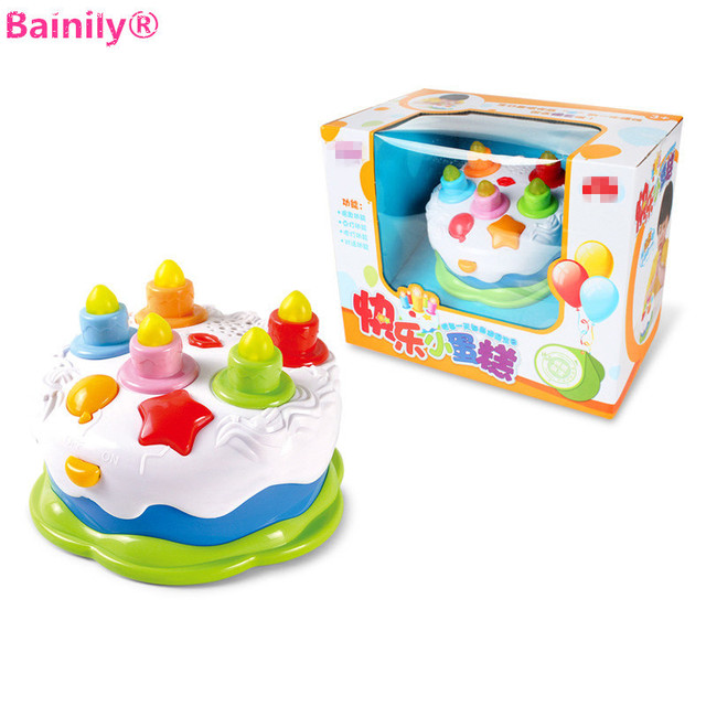 Bainily DIY Pretend Play Toys Music Light Happy Birthday Cake Toy Kitchen Food Mini Create Educational Girls Gift For Children