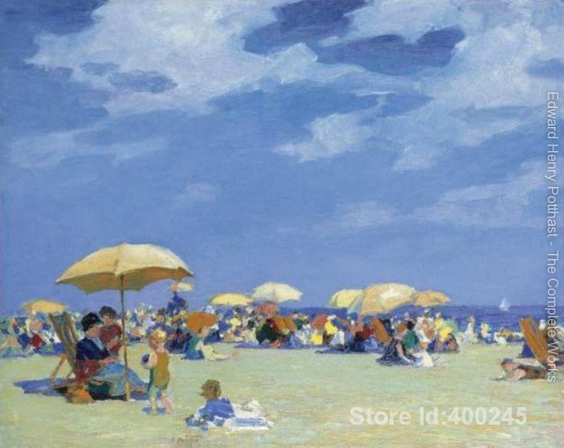 Oil painting beach scene Beach At Far Rockaway Edward Henry Potthast artwork on canvas Handmade High Quality