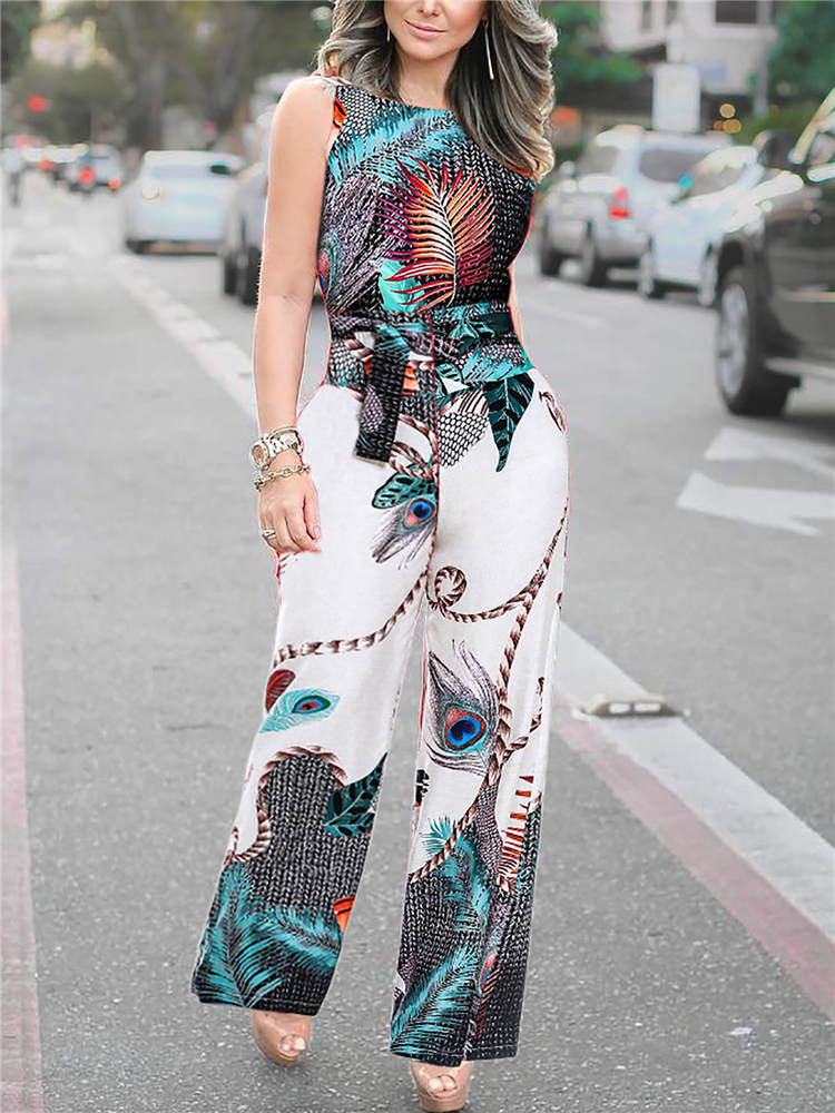 2020 Summer Women Elegant Casual Jumpsuits Female Stylish Leisure Romper Ladies Overalls Spaghetti Strap Peacock Print Jumpsuit