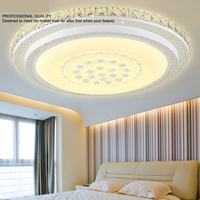 Led Crystal Ceiling Lamp Master Bedroom Round Warm Room Simple Modern Living Room Remote Control Lamp