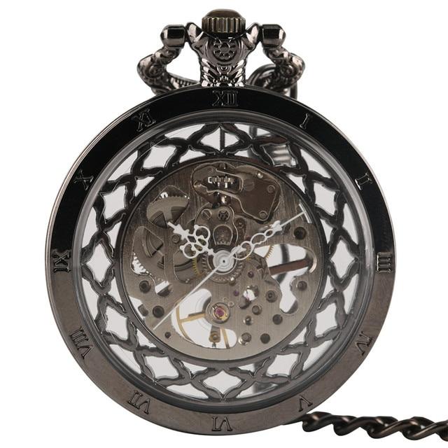 Fashion Mechanical Hand Wind Men Pocket Watch Antique Steampunk Skeleton Luxury
