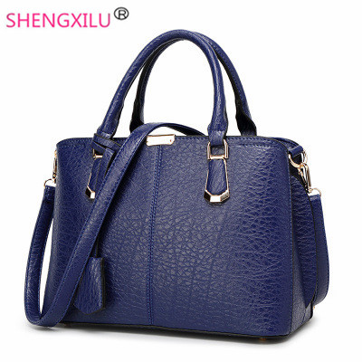 Shengxilu leather women bags 2017 new brand female handbags fashion big girls shoulder bags blue tassel crossbody bags