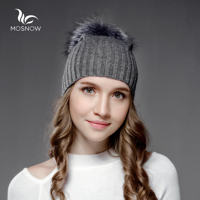 Mosnow Wool Silver Fox Fur Pom Poms Women'S Winter Hats  Warm Vogue High Quality Knitted Casual  Fur Hats Skullies Beanies