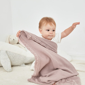 Image 1 - Baby Blankets 100%Cotton Knitted Newborn Bebes Swaddle Wrapper Solid Color Infant Crib Bedding Blanket Children Stroller Quilts