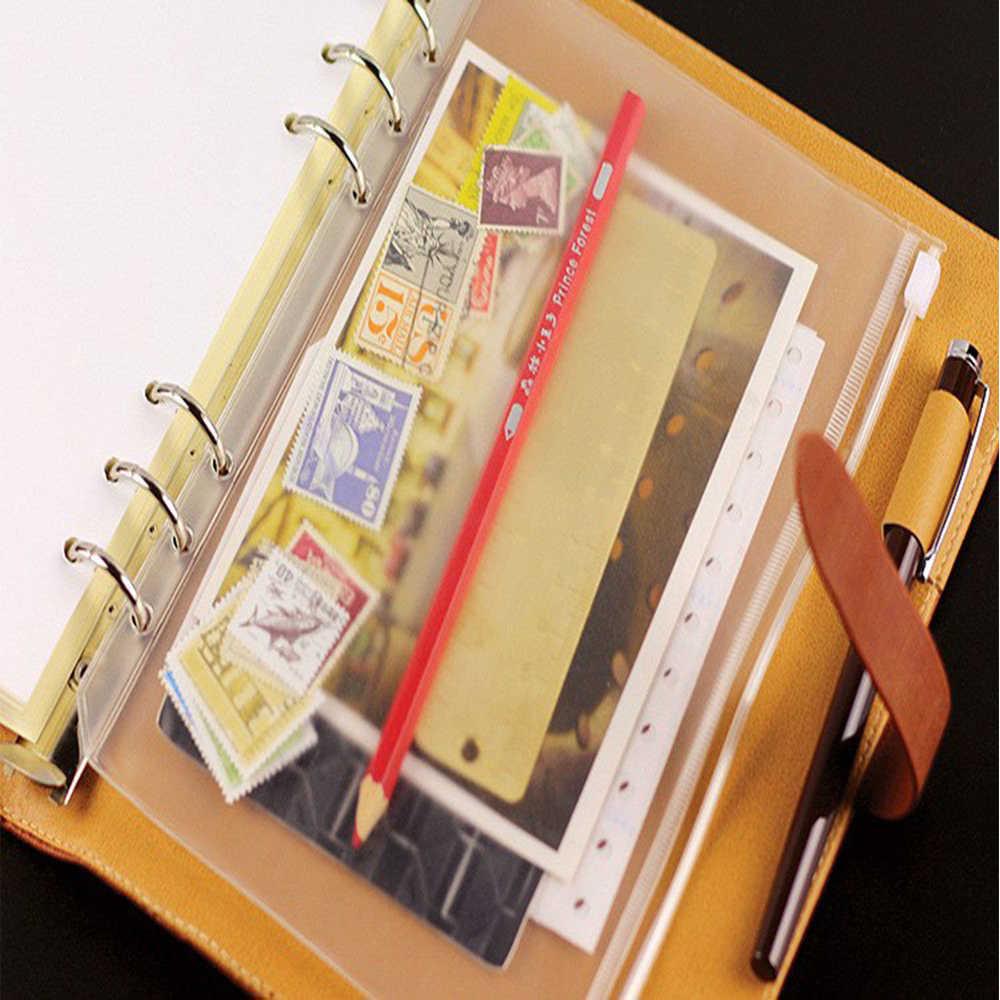 Set di 6 Pcs di Plastica Trasparente A5 A6 A7 Formato Tasche Con Cerniera Borse multiuso 6-Anello di Notebook Legante Matita Della Penna sacchetto Per La Casa e Ufficio Scuola