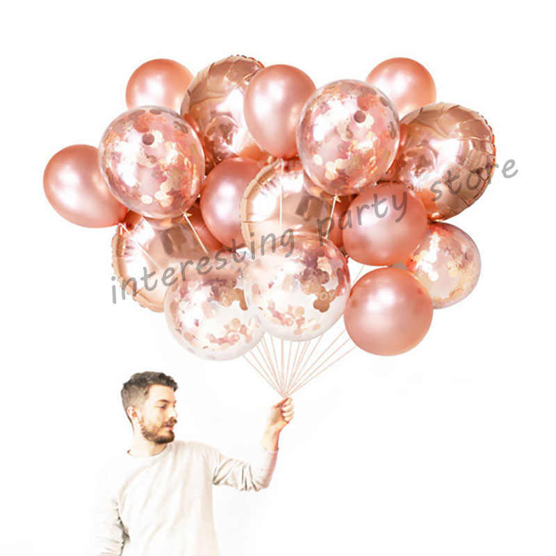 1set 18inch Rose Gold Round Foil Helium Balloons Inflatable Confetti Balloon Rose Gold Party Event Birthday Wedding Decor