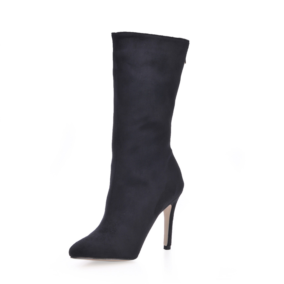 Hiver Mi Stiletto Élégant mollet e1 Daim Parti Mature Black Sexy Talons Haut Mujer Zapatos En Chaussures Noir Lady 2016 70887bt Bottes Femmes F1lcTKJ