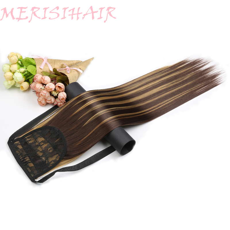 MERISI HAIR Hair Long 22inch Skilly Straight 18 Colors Available Synthetic Hair Ribbon Drawstring Ponytail Pieces Extensions