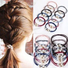 Hair Gum For Women Strong Elasticity Three-in-one Rubber Bands Pony Tail Hair Ties For Girls Quality Pearls Gold Beads Hair Band final girls three girls three tragedies one unthinkable secret