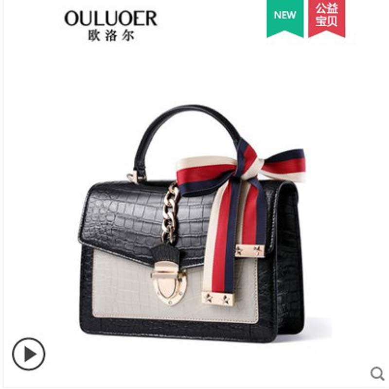 ouluoer New fashion belly bag 2019 style cross-body bag with crocodile skin for women casual small square bag with leather bag image