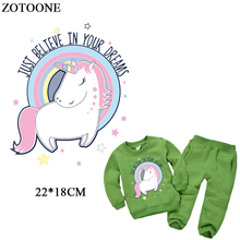 ZOTOONE Cute Unicorn Patches For Girl Clothing Iron On Transfers Letter Parches Children Clothes DIY Appliques Heat Press D