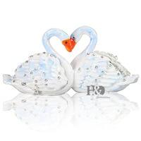 Tiffany Metal Swan Wedding Trinket Box Ring Holder Earring Jewelry Stands Box Storage Wedding Jewelry Case