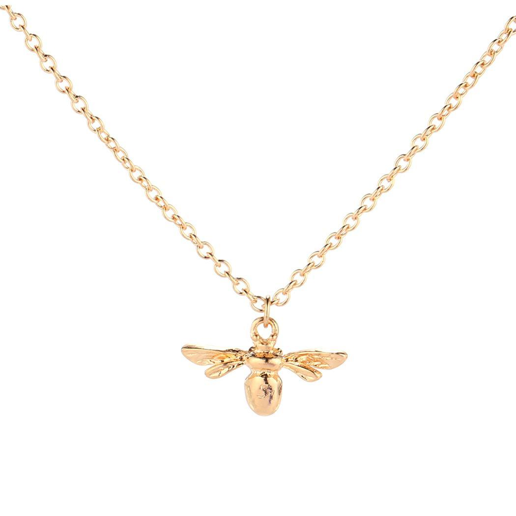 Party Women Bee Necklace Jewelry Fashion Pendant Chain Alloy Insect
