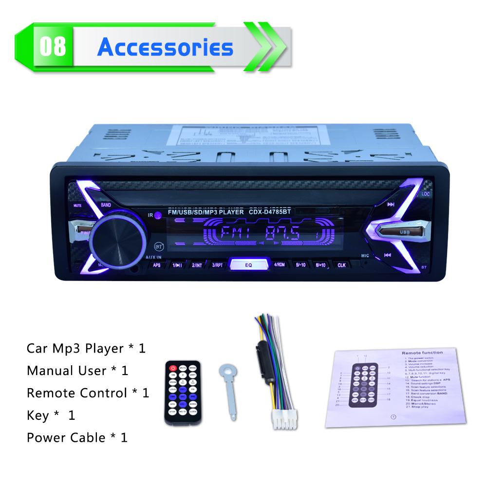 12V 1Din Car Радио Аудио Bluetooth стерео MP3 - Автомобиль электроникасы - фото 6