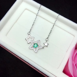 Image 2 - Natural emerald necklace, from the stars, 925 silver, especially beautiful, the price is suitable