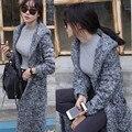 Мода Зима Стиль Серый С Капюшоном Свободные Плащ Вязаный Утолщаются женская Длинный Кардиган Свитер для женщин
