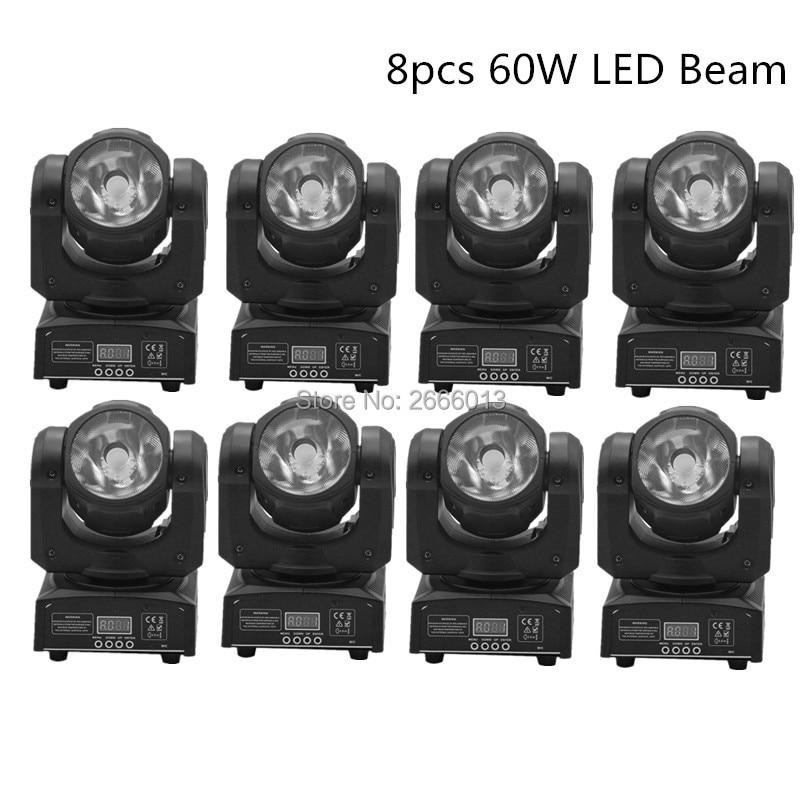 8pcs 60W LED Spot Moving Head Light/dj controller LED lamp Light 60W Beam wash effect lights super bright DMX LED DJ disco light