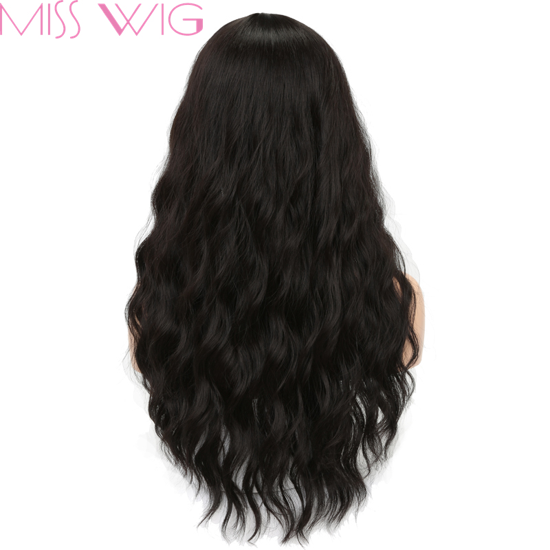 MISS WIG Long Wavy Wigs for Black Women African American Synthetic Grey Brown Wigs with Bangs Heat Resistant +-