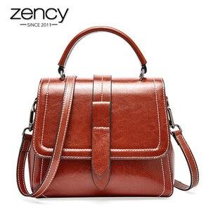 Image 1 - Zency Retro Brown Women Tote Handbag 100% Genuine Leather Daily Casual Shopping Messenger Shoulder Bag Luxury Dark Red Black