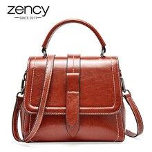 Zency Retro kahverengi kadın büyük el çantası çanta 100% hakiki deri günlük rahat alışveriş Messenger omuzdan askili çanta lüks koyu kırmızı siyah