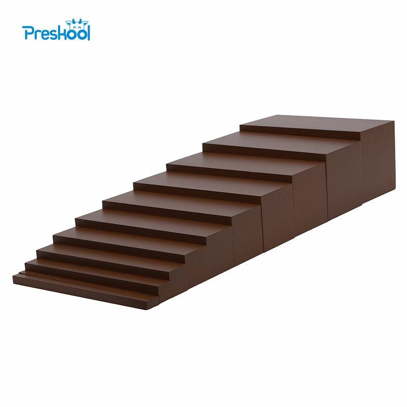 Montessori brun escaliers bébé jouet éducation de la petite enfance enfants d'âge préscolaire Brinquedos Juguetes