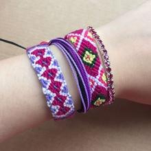 4pcs Bracelet Set Handmade Orchid Purple Weave Friendship Bracelets Women Multi Layers Bohemian Summer Surf Jewelry