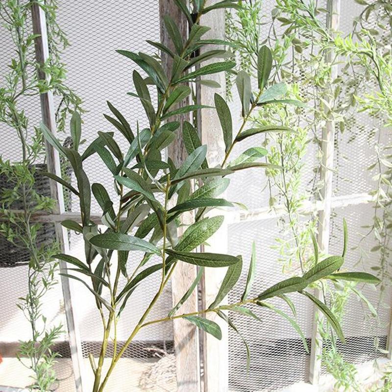 20 Pcs 103 cm Europese Olijf Bladeren voor Hotel en Bruiloft Kunstplanten Olijfboom Takken Blad Woondecoratie Accessoires