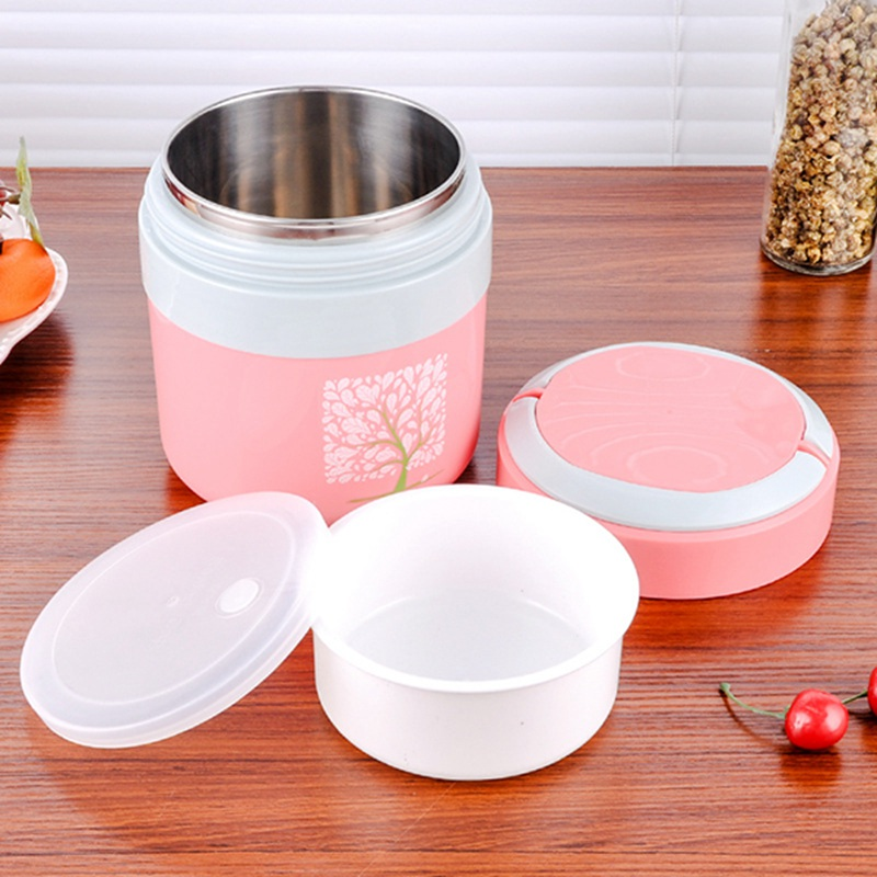 Cute Double Layer Food Storage Container Stainless Steel Lunchbox Portable Thermal Insulation Dinnerware Sets Bento Boxes
