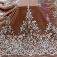 La Belleza 1 yard off white light gold mixed pearls on mesh embroied dress lace fabric 47 width ZC180802WT