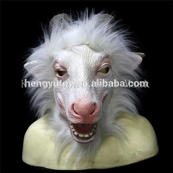 Top qualité 100% Latex 1 PC nouveau Latex tête de chèvre masque Animal ZOO Cosplay mouton Halloween mascarade fête Anima masque Costume Prop