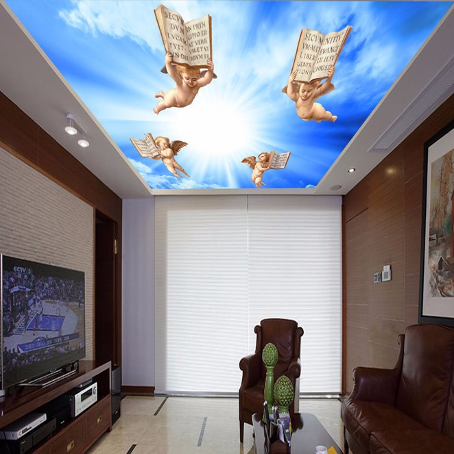 blue sky ceilings Luxury Blackout 3D Window Curtains For Living Room Bedroom Drapes Cortina Rideaux Customized size angel in Wallpapers from Home Improvement