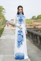 aodai vietnam clothing cheongsam aodai vietnam dress vietnamese traditionally dress cheongsam modern Blue and white porcelain