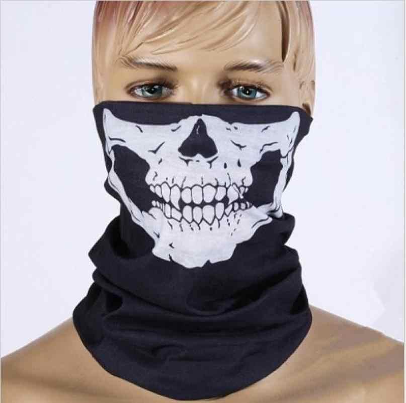 Sepeda Ski Tengkorak Setengah Wajah Masker Hantu Syal Multi Menggunakan Leher Hangat Cod Berguna Bersepeda Peralatan Masker Bernapas Selendang Membungkus