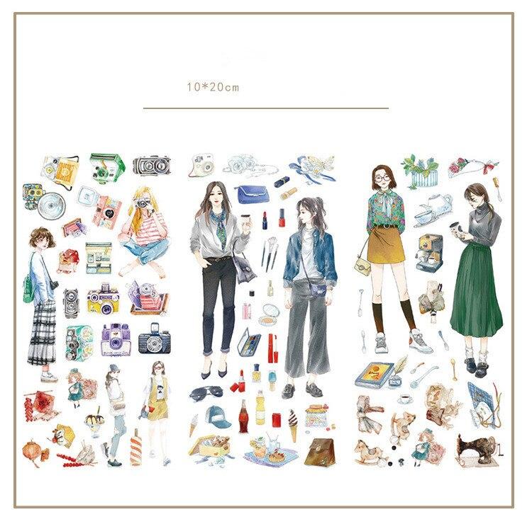 3pcs/lot Cute Fashion Girl Journal Decorative Stickers Set Scrapbooking Stick Label Diary Stationery Album Stickers
