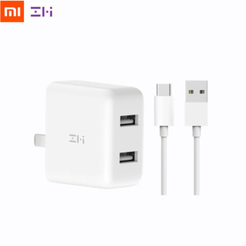 Xiaomi ZMI QC3.0 USB Dual Port Fast Charger Set + 1m Type-C Charging Cable Portable Wall Charger Adapter For Phone Tablet PC Battery Chargers